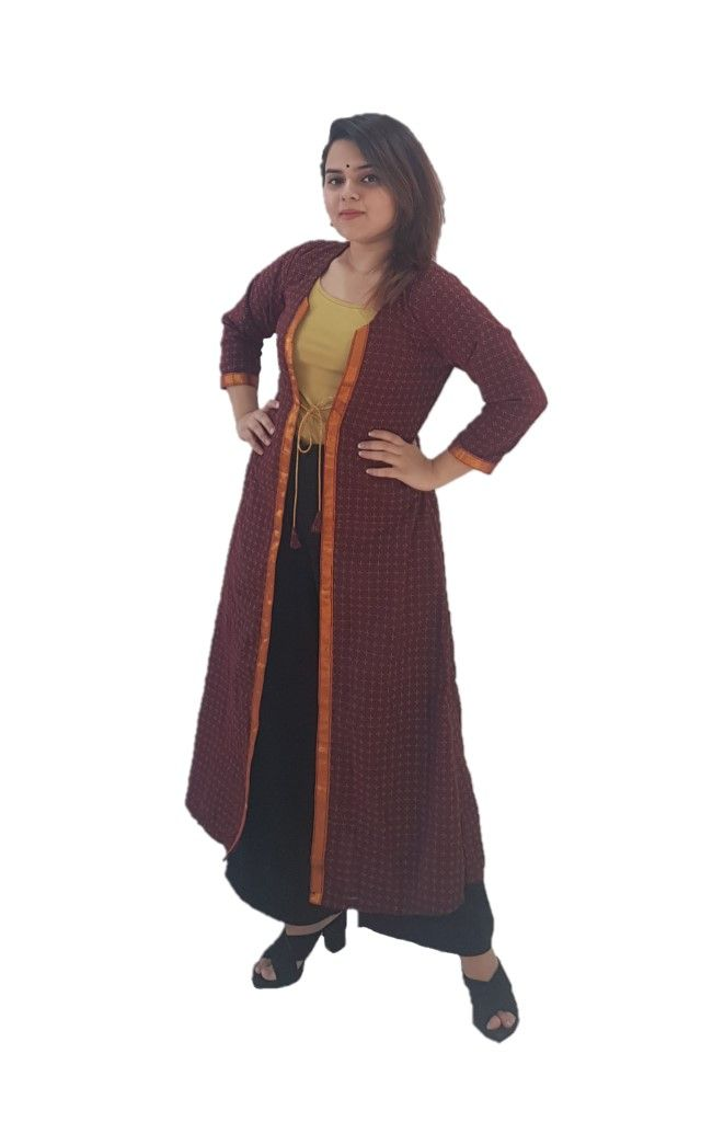 Upcycled Long Ethnic Jacket Ilkal Fabric with Front Knot Brown Size Medium : Details