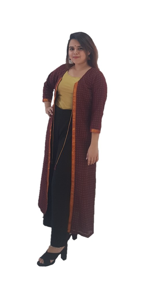Upcycled Long Ethnic Jacket Ilkal Fabric with Front Knot Brown Size Medium : Picture