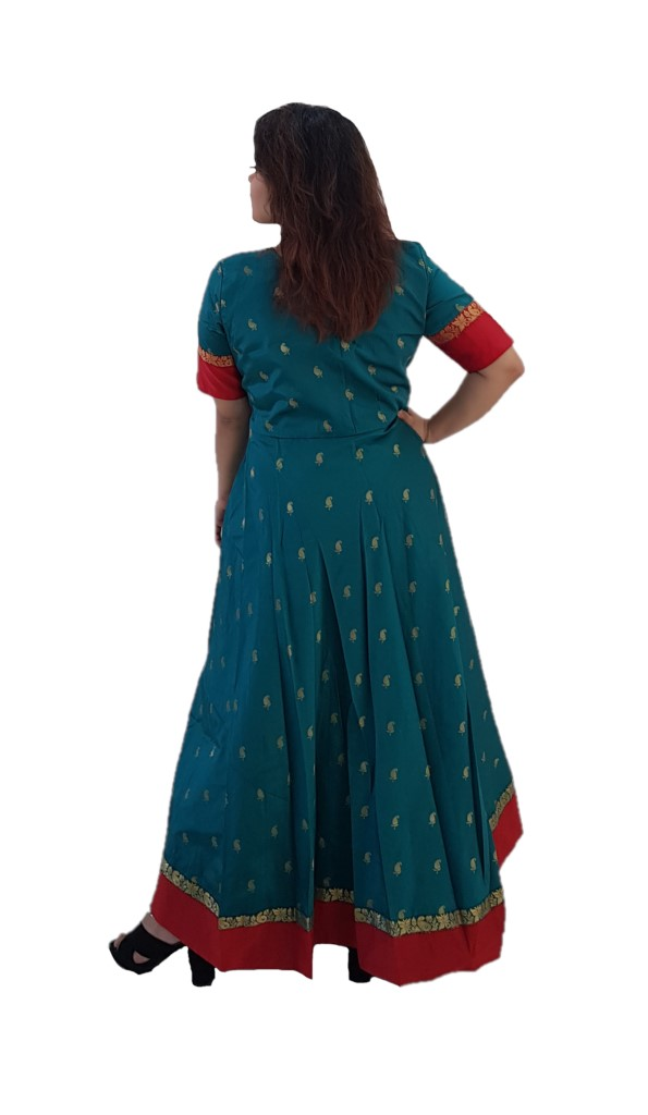 Upcycled Synthetic Goradh Silk Red Border Saree Gown Sea Green Size Large : Picture