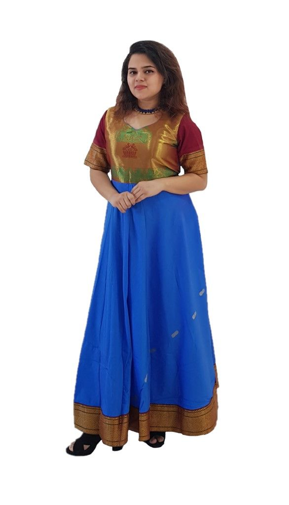 Upcycled Synthetic Tana Silk Paithani Border Saree Gown Blue Maroon Size Large : Details