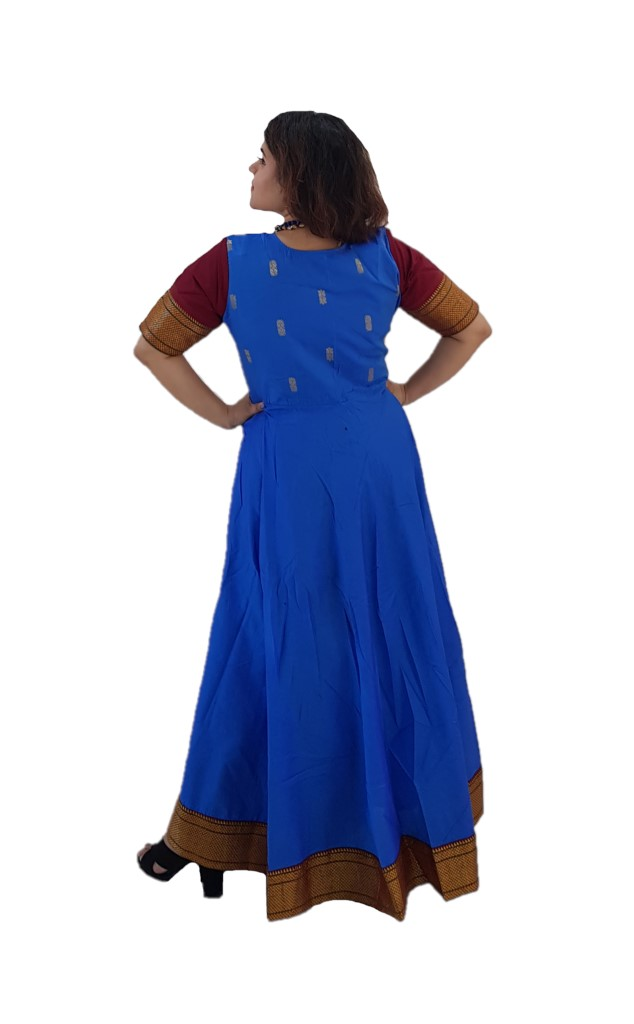 Upcycled Synthetic Tana Silk Paithani Border Saree Gown Blue Maroon Size Large : Picture