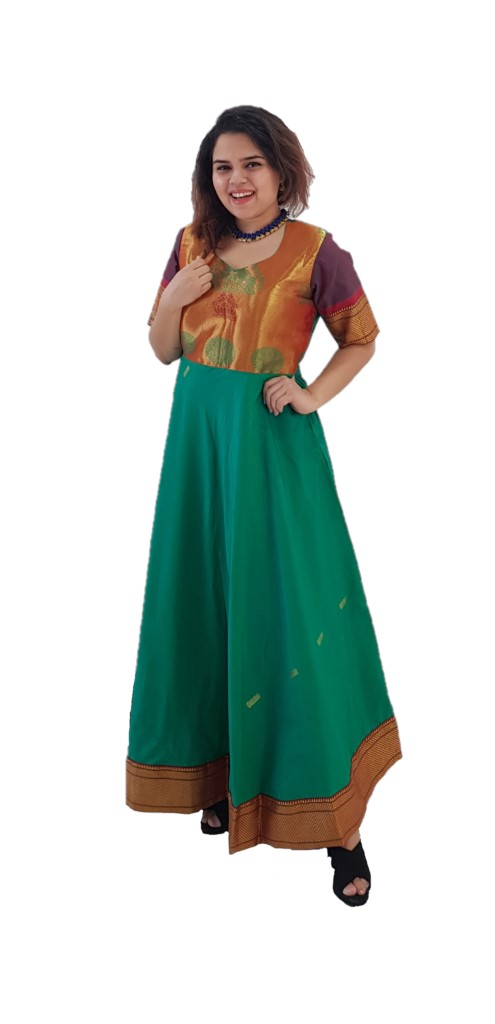 Upcycled Synthetic Tana Silk Paithani Border Saree Gown Green Size Large : Picture