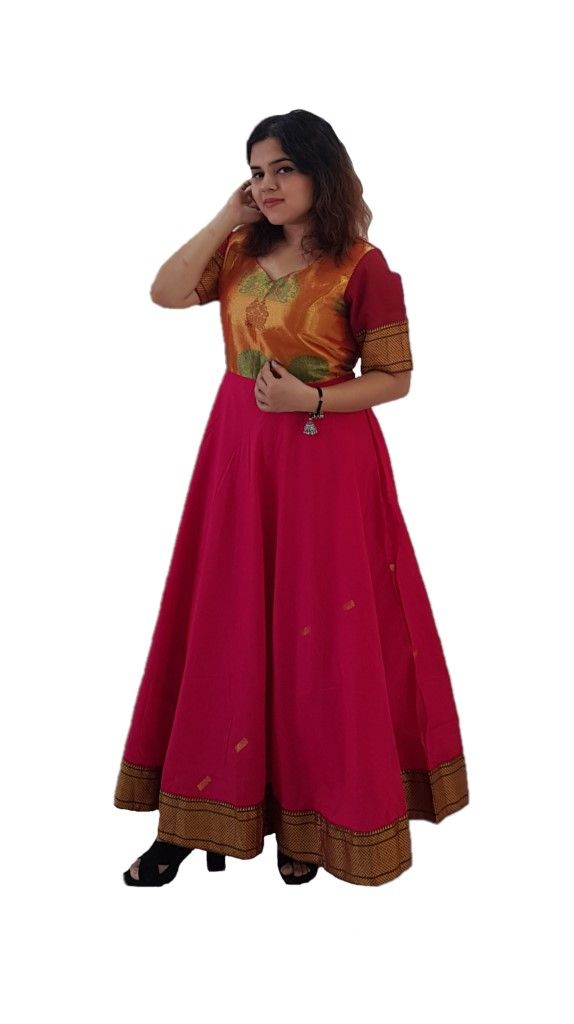 Upcycled Synthetic Tana Silk Paithani Border Saree Gown Deep Pink Size Large : Details