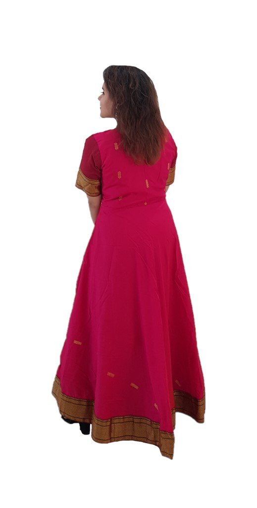 Upcycled Synthetic Tana Silk Paithani Border Saree Gown Deep Pink Size Large : Picture