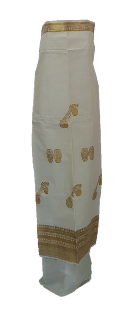 Kerala Kasavu Cotton Dress Material with Tabla and Tanpura Motifs : Picture