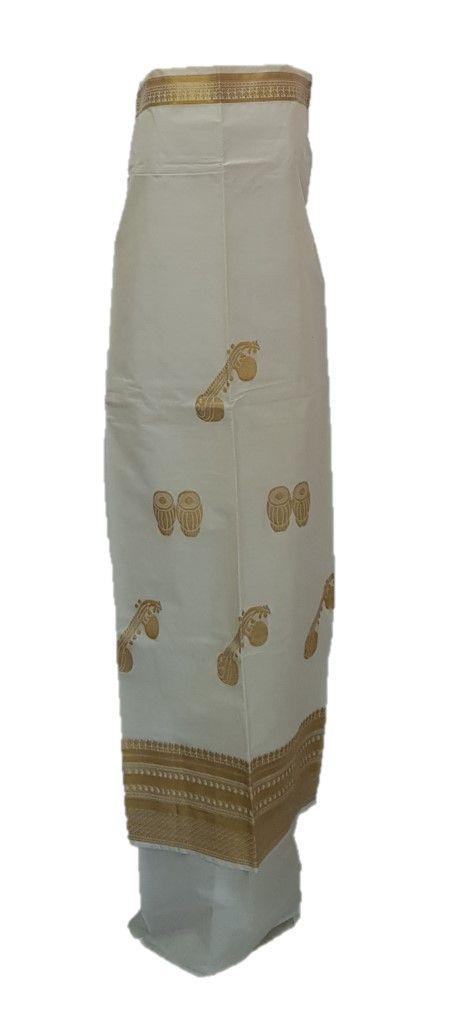 Kerala Kasavu Cotton Dress Material with Tabla and Tanpura Motifs : Details