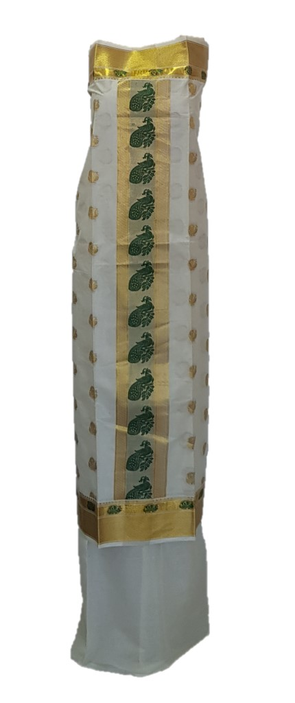 Kerala Kasavu Soft Cotton Dress Material with Double sided Green Peacock Motifs : Picture
