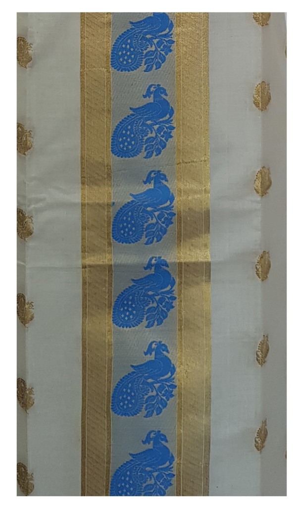 Kerala Kasavu Soft Cotton Dress Material with Double sided Light Blue Peacock Motifs : Picture