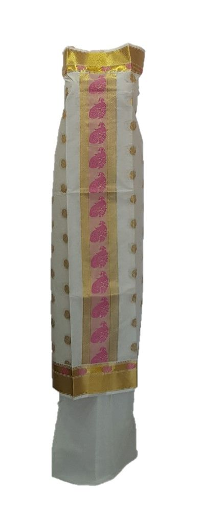 Kerala Kasavu Soft Cotton Dress Material with Double sided Pink Peacock Motifs : Picture