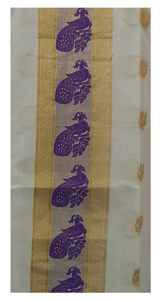 Kerala Kasavu Soft Cotton Dress Material with Double sided Violet Peacock Motifs : Picture