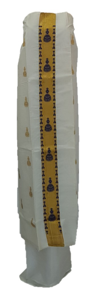 Kerala Kasavu Cotton Dress Material with NavyBlue Jhumka motifs : Picture