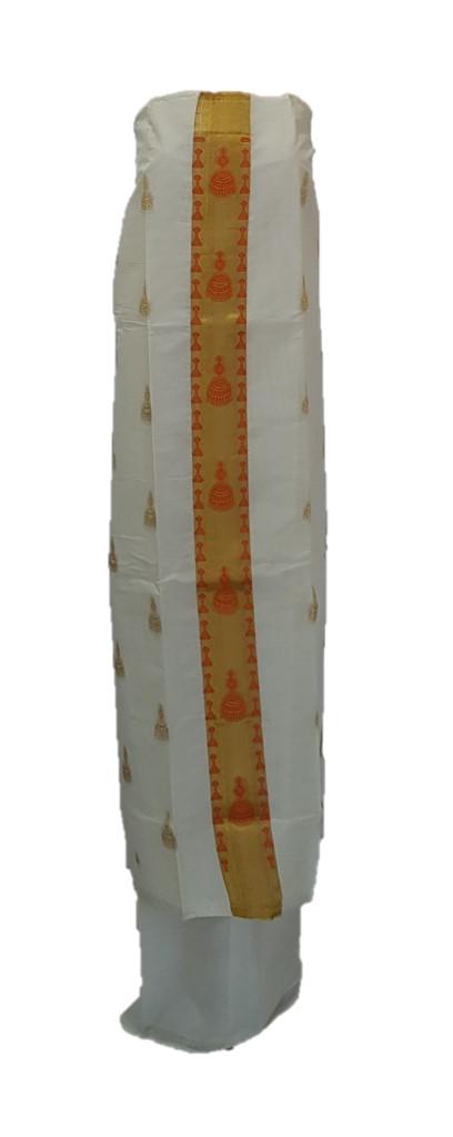 Kerala Kasavu Cotton Dress Material with Orange Jhumka motifs : Picture