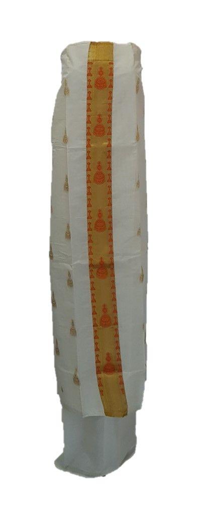 Kerala Kasavu Cotton Dress Material with Orange Jhumka motifs : Details