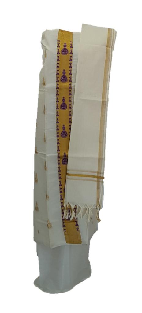 Kerala Kasavu Cotton Dress Material with Violet Jhumka motifs : Picture