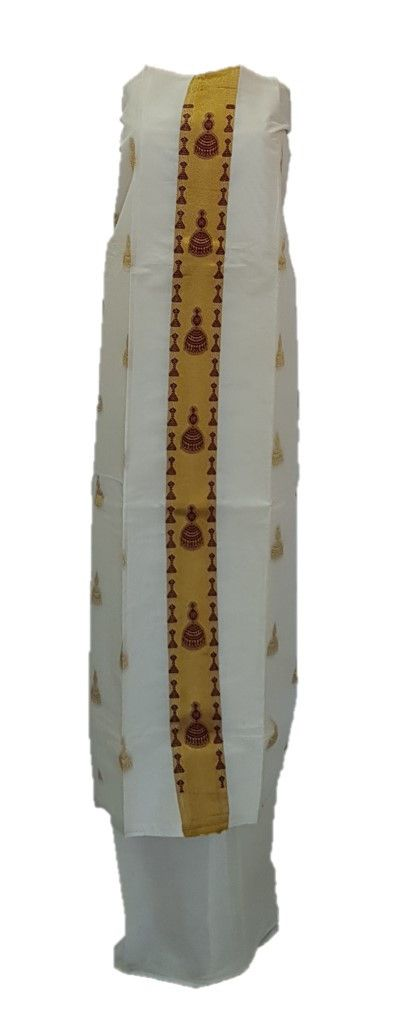 Kerala Kasavu Cotton Dress Material with Brown Jhumka motifs : Picture