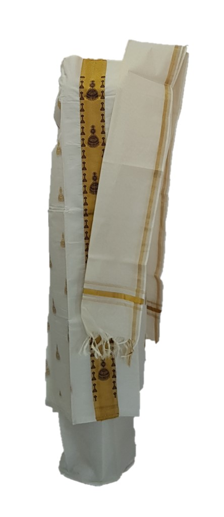 Kerala Kasavu Cotton Dress Material with Black Jhumka motifs : Picture