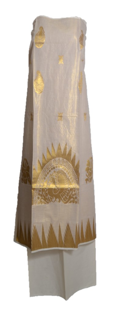 Kerala Kasavu Tissue Cotton Dress Material with Big Peacock Butta and Temple Border : Picture