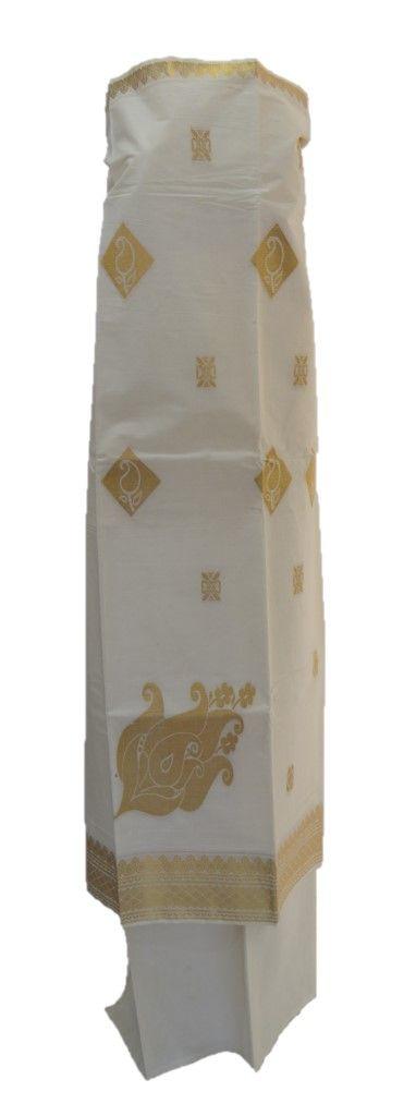 Kerala Kasavu Cotton Dress Material with Golden Big Mango Buttas : Picture