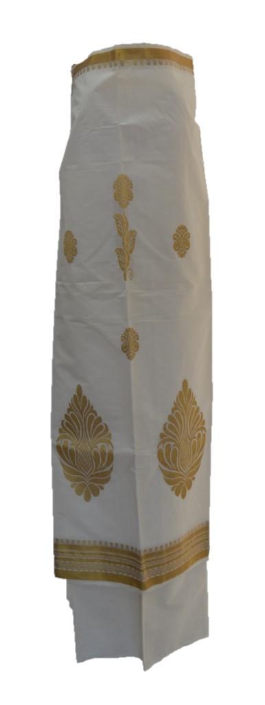 Kerala Kasavu Cotton Dress Material with Big Leaf Buttas : Picture