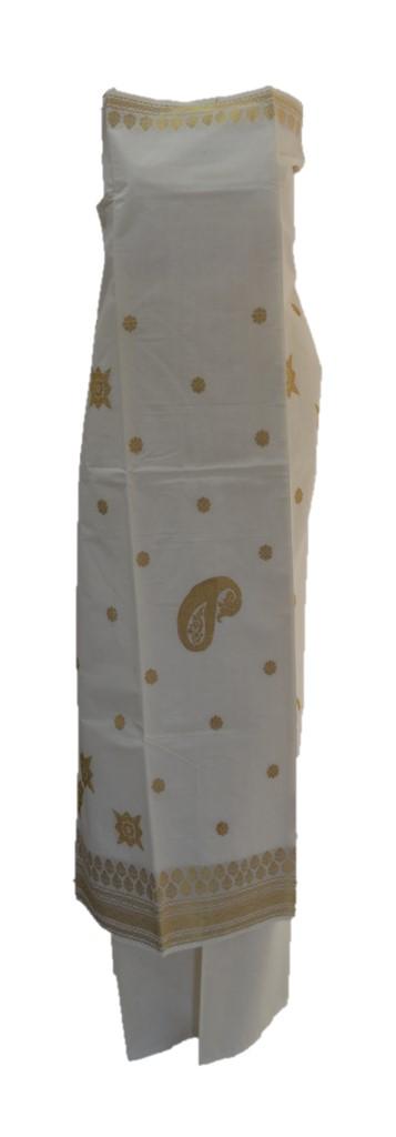 Kerala Kasavu Cotton Dress Material with Star Mango Buttas : Picture