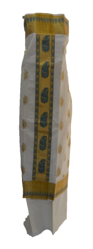 Kerala Kasavu Cotton Dress Material with Mango Floral Motifs SeaGreen : Picture