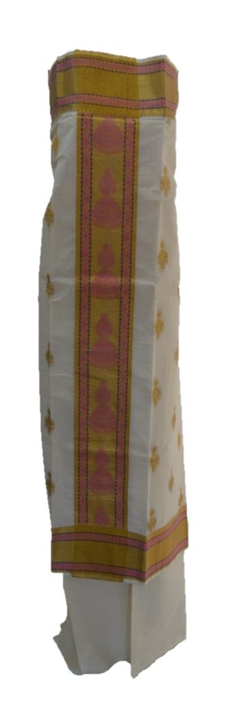 Kerala Kasavu Cotton Dress Material with Big Jhumka Motifs Light Pink : Details