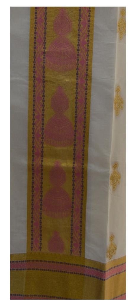 Kerala Kasavu Cotton Dress Material with Big Jhumka Motifs Light Pink : Picture