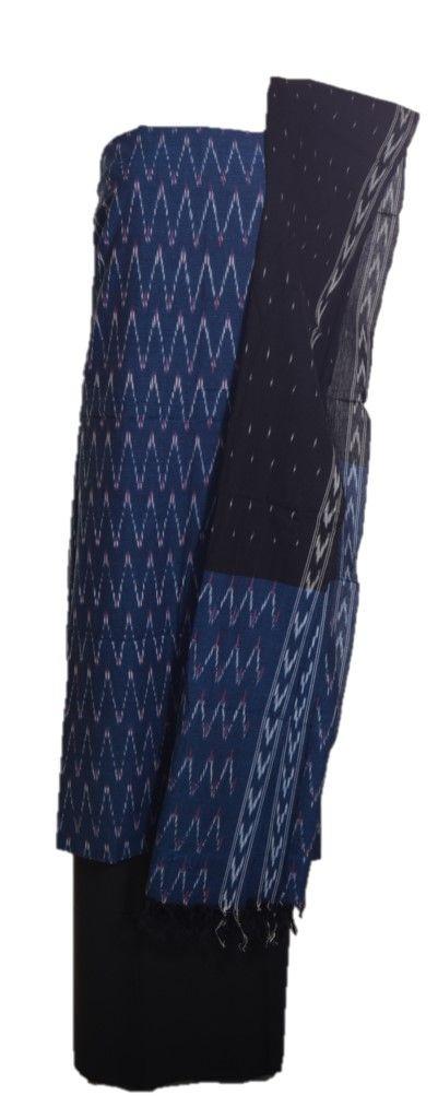 Pochampally Ikat Pure Cotton Dress Material NavyBlue Black : Details