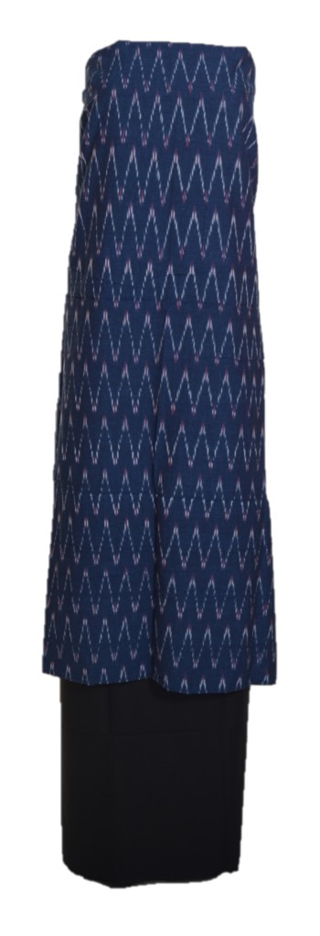 Pochampally Ikat Pure Cotton Dress Material NavyBlue Black : Picture