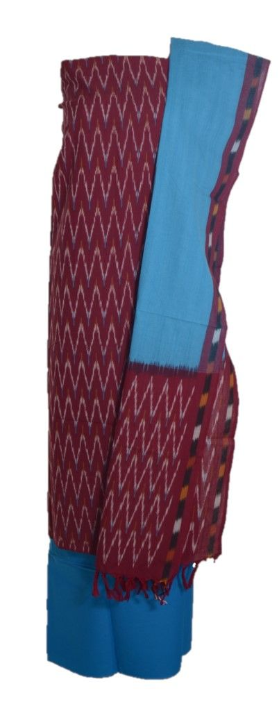 Pochampally Ikat Pure Cotton Dress Material Maroon TurquoiseBlue : Details