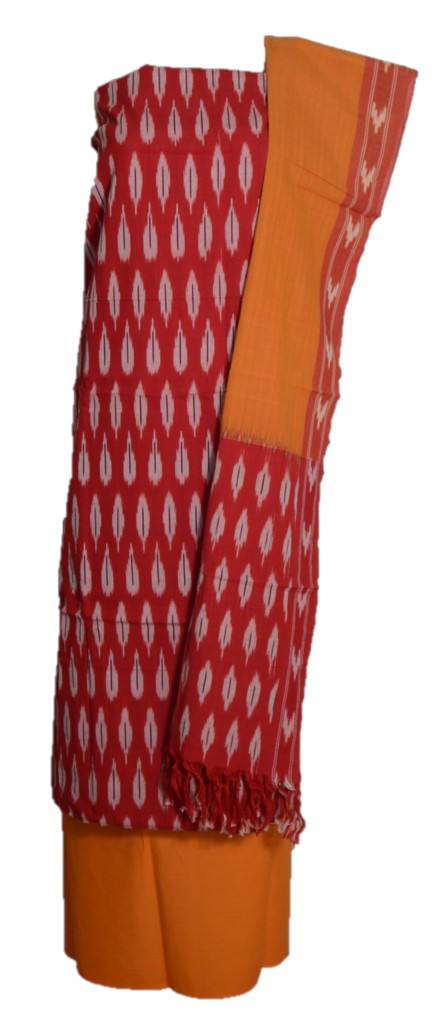 Pochampally Ikat Pure Cotton Dress Material Red MangoYellow : Picture