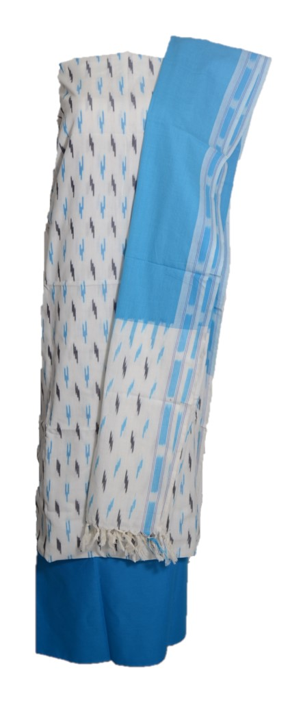 Pochampally Ikat Pure Cotton Dress Material OffWhite TurquoiseBlue : Picture