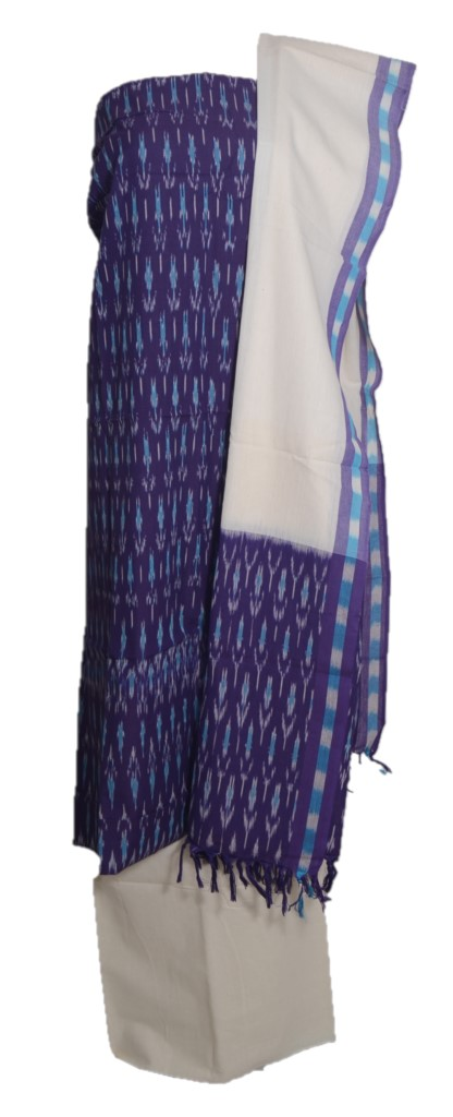 Pochampally Ikat Pure Cotton Dress Material Violet OffWhite : Picture