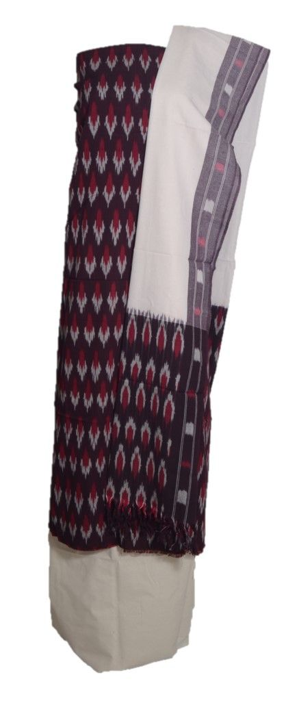 Pochampally Ikat Pure Cotton Dress Material Brown OffWhite : Details