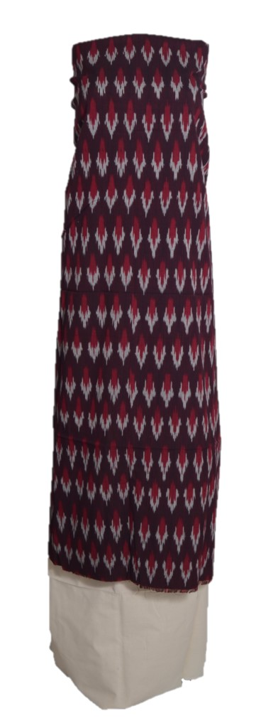 Pochampally Ikat Pure Cotton Dress Material Brown OffWhite : Picture