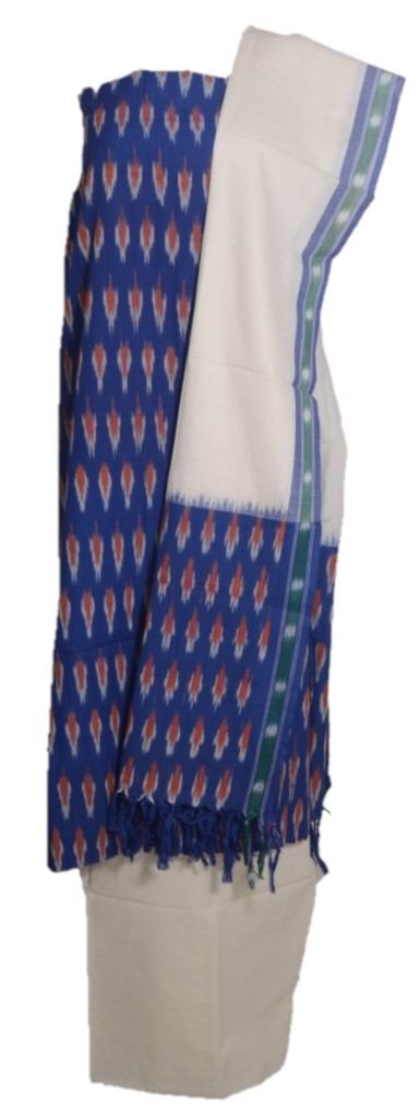 Pochampally Ikat Pure Cotton Dress Material InkBlue OffWhite : Picture