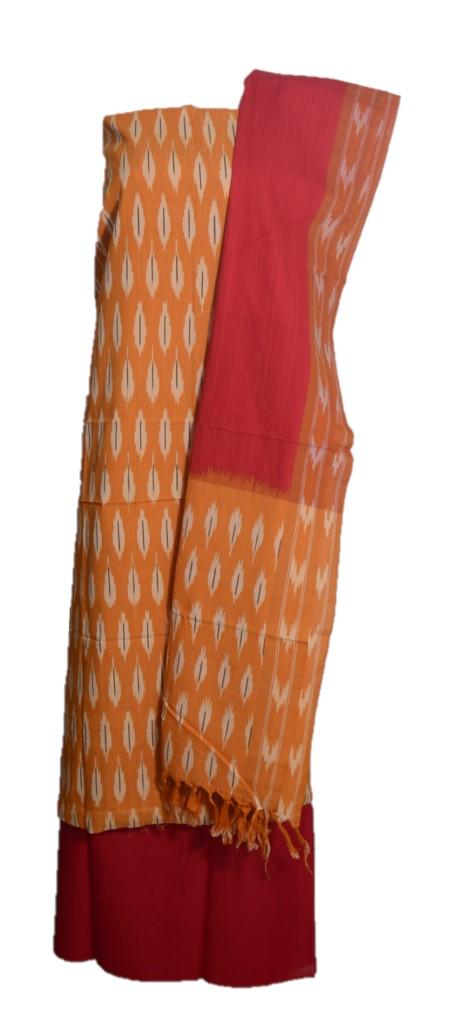 Pochampally Ikat Pure Cotton Dress Material MangoYellow Red : Picture