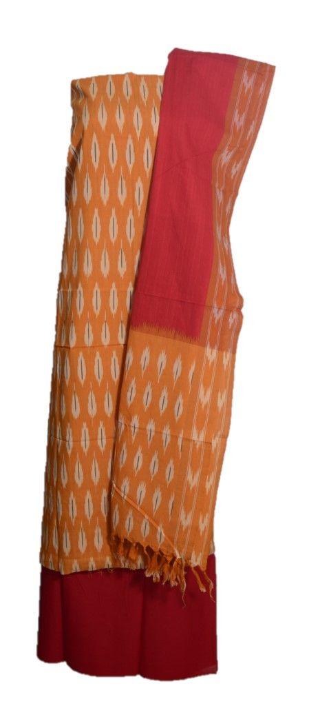 Pochampally Ikat Pure Cotton Dress Material MangoYellow Red : Details