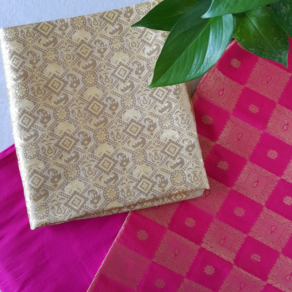 Banarasi Loom All Over Brocade Work Katan Silk Dress Material Gold Pink : Details