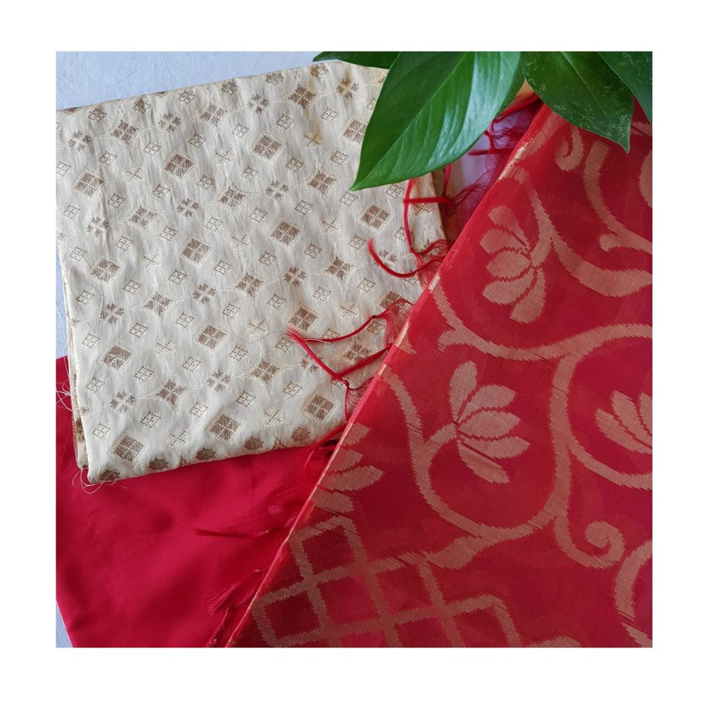 Banarasi Loom All Over Brocade Work Katan Silk Dress Material Geru Red : Picture
