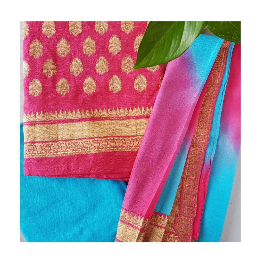 Banarasi Loom All Over Brocade Work Katan Silk Dress Material Pink TurquoiseBlue : Picture