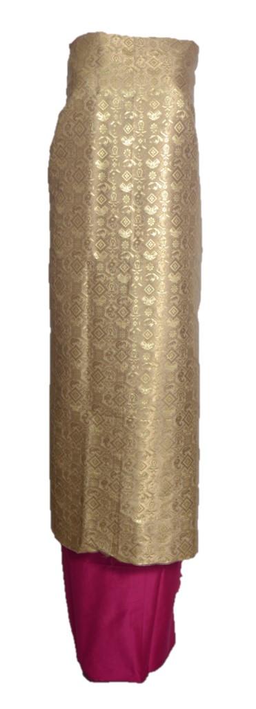 Banarasi Loom All Over Brocade Work Katan Silk Dress Material Gold Pink : Picture
