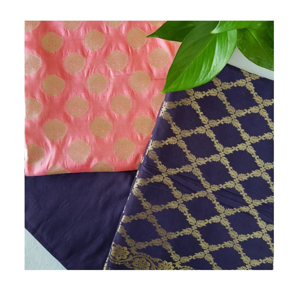 Banarasi Loom All Over Brocade Work Katan Silk Dress Material BabyPink Dark Jamuni : Picture