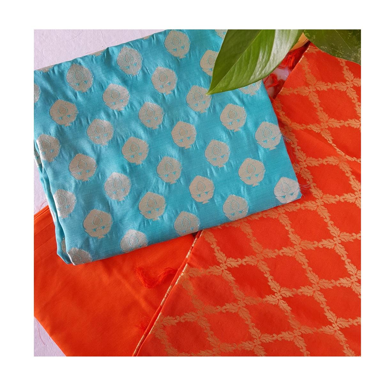 Banarasi Loom All Over Brocade Work Katan Silk Dress Material Teal Orange : Picture