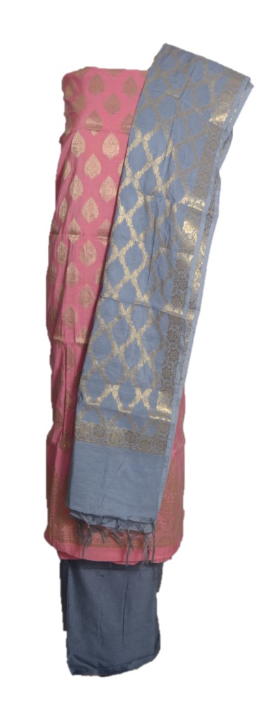 Banarasi Loom All Over Brocade Work Katan Silk Dress Material PeachPink Grey : Picture