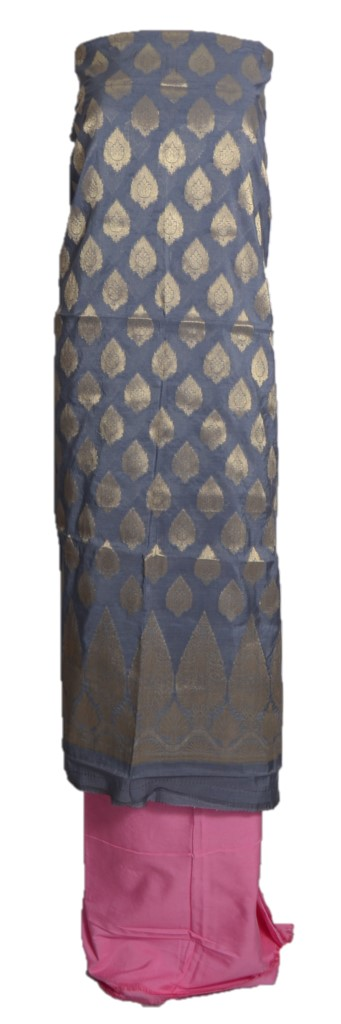 Banarasi Loom All Over Brocade Work Katan Silk Dress Material Grey RosePink : Picture