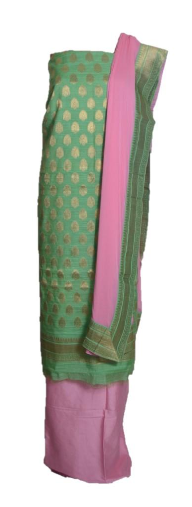 Banarasi Loom All Over Brocade Work Katan Silk Dress Material PistaGreen RosePink : Picture