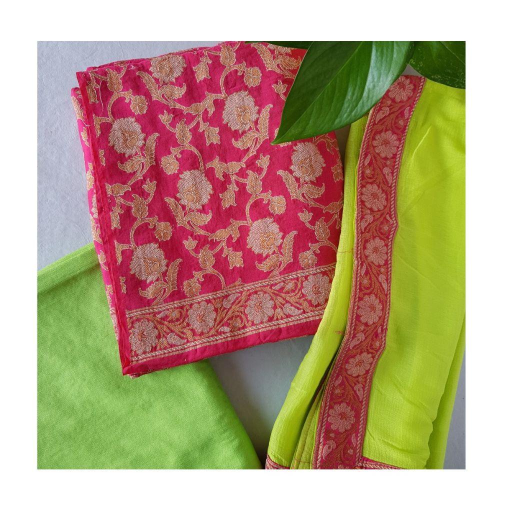 Banarasi Loom All Over Brocade Work Katan Silk Dress Material  Pink LightGreen : Details