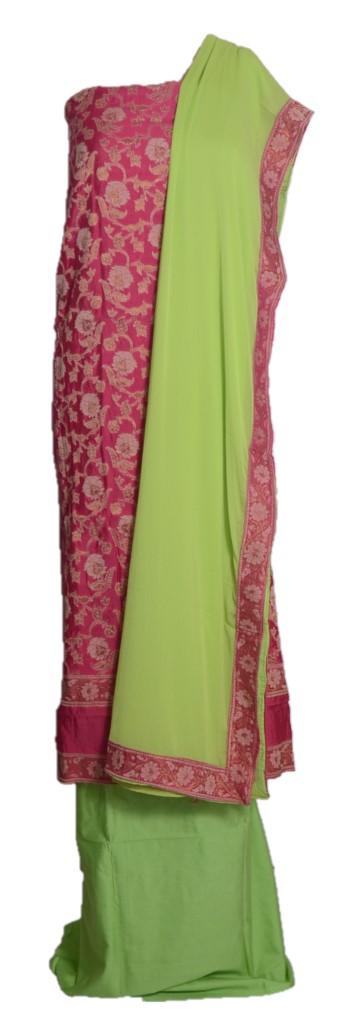 Banarasi Loom All Over Brocade Work Katan Silk Dress Material  Pink LightGreen : Picture