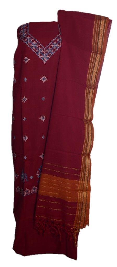 Kasuti Embroidered Pure Cotton Dress Material Dark Red : Details